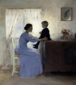 A Mother And Child In An Interior by Peter Vilhelm Ilsted