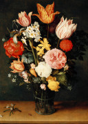 Tulips, Roses And Other Flowers In A Glass Vase by Balthasar van der Ast