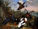 Shell Ducks And Other Fowl In A Landscape by Ferdinand Philipp de Hamilton