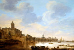 A Town On The Banks Of A River, With A Ferry by Jan Van Goyen