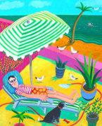 Green Stripey Parasol by Graham Round