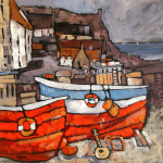 Boats at Crail Harbour by Brian Petrie