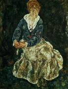 The Artist's wife seated, c.1912 by Egon Schiele