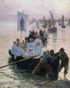 The Arrival of the Procession of St. Anne, 1887 by Alfred Guillou