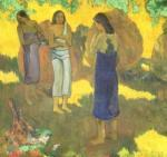 Three Tahitian Women against a Yellow Background, 1899 by Paul Gauguin