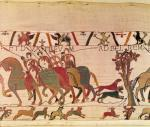 Harold as prisoner, detail from the Bayeux Tapestry by English or French School
