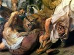 Lion Hunt, detail of two men and a lion, 1621 by Peter Paul Rubens