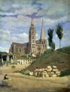 Chartres Cathedral 1830 by Jean-Baptiste-Camille Corot