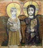Icon depicting Abbott Mena with Christ from Baouit