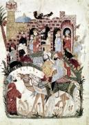 Abu Zayd and Al-Harith questioning villagers from 'The Maqamat' by Persian School