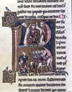 Historiated initial 'R' depicting the King Baldwin I of Flanders by French School