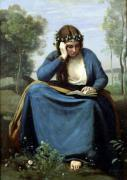 The Reader Crowned with Flowers 1845 by Jean-Baptiste-Camille Corot