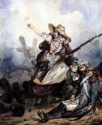A Barricade 1834 by P. Manguin