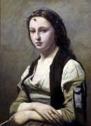 The Woman with the Pearl c.1842 by Jean-Baptiste-Camille Corot