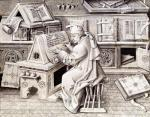 The copyist Jean Mielot working in his scriptorium by Jean Le Tavernier