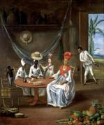 A Mulatto Woman with her White Daughter Visited by Negro Women 1775 by Le Masurier