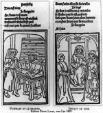 Pathelin and the Draper and Pathelin before the Judge c.1489 by French School