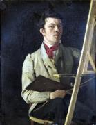 Self Portrait Sitting next to an Easel 1825 by Jean-Baptiste-Camille Corot