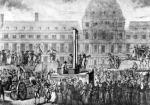 The First Execution by Guillotine Place du Carrousel 1792 by French School