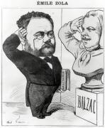 Caricature of Emile Zola Saluting a Bust of Honore de Balzac by Andre Gill