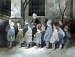 Schoolboys in the Playground by Henri Bonaventure Monnier