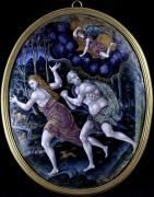 Oval plaque depicting Adam and Eve Expelled from Paradise by French School