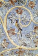 Detail of a bird wall decoration of the Pope's bedroom c.1334 by French School