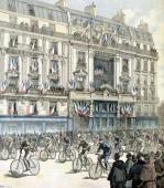 The start of the Paris-Brest bicycle race in front of the offices of 'Le Petit Journal' by Fortune Louis Meaulle