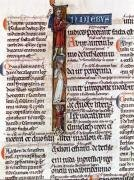 Historiated initial 'I' depicting Ruth with her husband and sons by French School