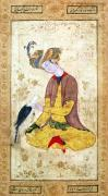 A Hunter Stroking his Falcon by Persian School