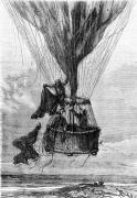 Three Men in a Gondola illustration from 'Five Weeks in a Balloon' by Edouard Riou