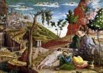 The Agony in the Garden left panel from the Altarpiece of St. Zeno of Verona 1456 by Andrea Mantegna