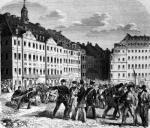 Uprising in Dresden 1848 illustration from 'Illustrierte Zeitung' by German School