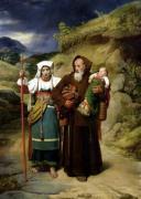 A Monk Helping a Pilgrim by Jean Victor Schnetz