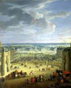 Perspective View from the Chateau of Versailles of the Place 1688 by Jean-Baptiste Martin