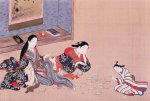 Women playing cards by Tamagawa Shunsui
