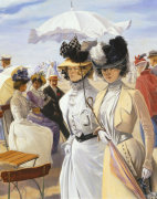 Two Elegant Women, from Promenade on the dyke at Ostend (Detail) by Carl Hermann Kuechler