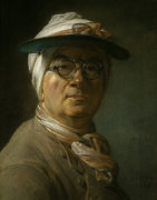 Self-portrait with glasses by Jean Baptiste Chardin