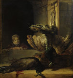 Still-life with two peacocks and a girl by Rembrandt