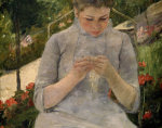Young girl in the garden, woman sewing (Detail) by Mary Cassatt