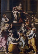Madonna and Child, the boy John and eight female saints by Alessandro Allori