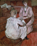 Two girls playing cards by Henri de Toulouse-Lautrec