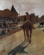 Racehorses at the grandstand (detail)