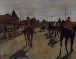 Racehorses at the grandstand by Edgar Degas
