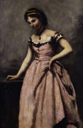 Young woman in pink dress by Jean-Baptiste-Camille Corot