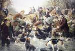 Gone To Ground - Otter Hunting (Restrike Etching) by T.H. Gibb
