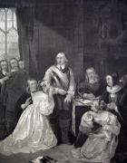 Cromwells family interceding (Restrike Etching) by William Fisk
