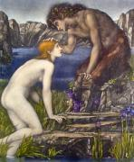 Pan & Phyche (Restrike Etching) by Sir Edward Burne-Jones