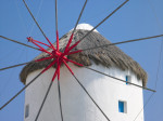 Mykonos Greece, Cyclades, Low angle view of wind mill, close-up by Assaf Frank