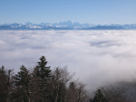Alpine view above clouds by Assaf Frank